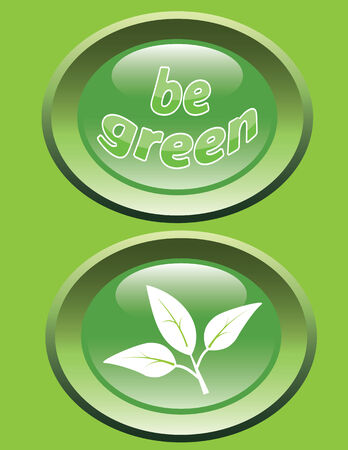 Glossy buttons with leaves and slogan Be Green - ecology concept illustration Stock Vector - 9043968