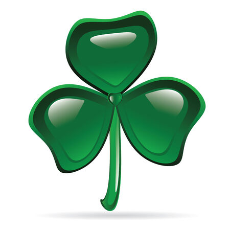 three leaves: Abstract glossy shamrock. St. Patricks Day illustration Illustration