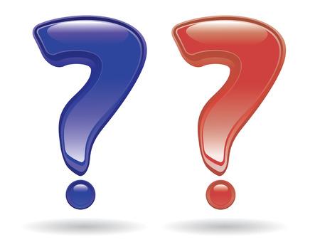 unsure: punti interrogativi in stile lucido isolata on white Vettoriali