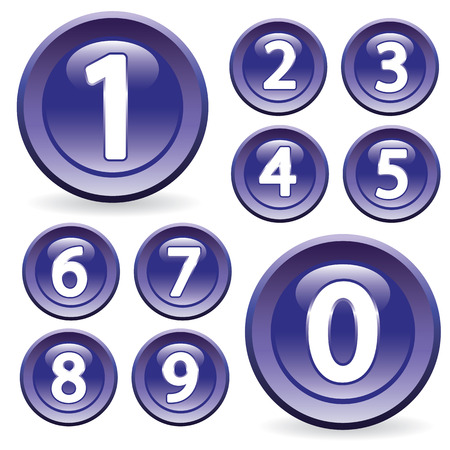 Set of digits in glossy style. Buttons for Web design. Stock Vector - 9043973
