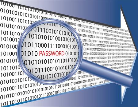 metadata: Binaria codice e parola password sotto vetro di lente di ingrandimento. Immagine di concetto di sicurezza software.