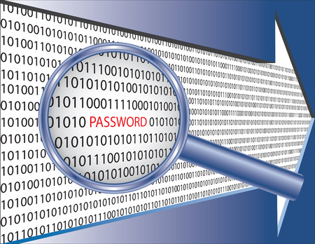 Binary code and word password under magnifier glass. Software security concept image.