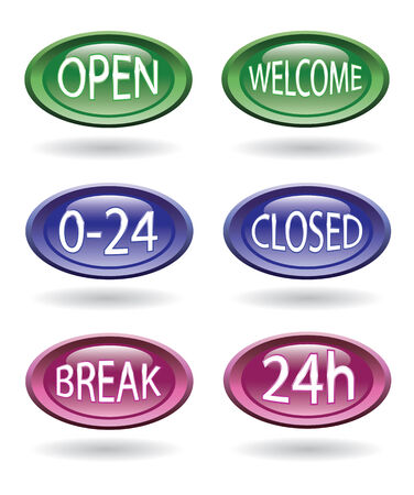 Set of shop or store signs - open, close, welcome, 24hours. Vector