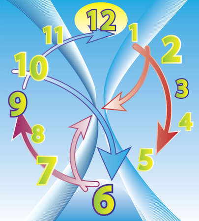 Abstract clock with arrows around and blue sky background Stock Vector - 9106534