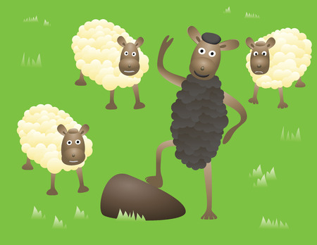 Smiling Blacksheep stands and greetings between usual and sad sheeps. Abstract humorous image.