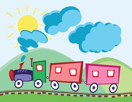 Dampflokomotive und Wagen im Zeichentrickfilm kindisch Stil