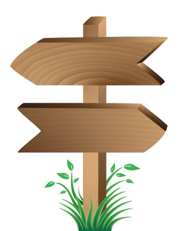 wooden post: wooden signs, green grass and leaves isolated on white Illustration