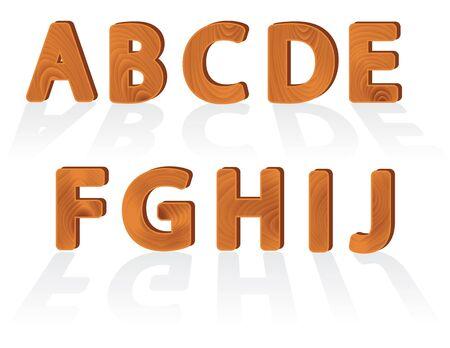 abstrakt Holzmaserung Textur Zeichen von a bis j Illustration