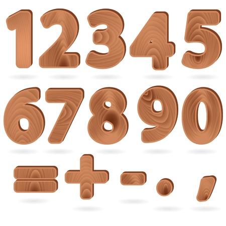 木目テクスチャ スタイルで数字および句読点のセットに署名します。