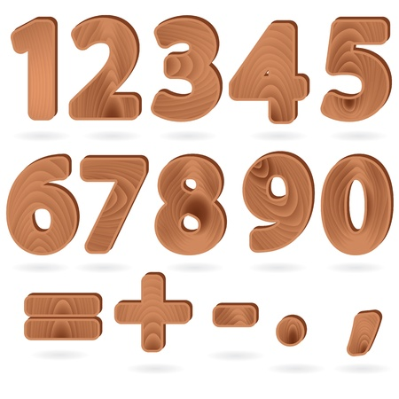 Set of digits and punctuation signs in wood grain textured style Stock Vector - 9208342