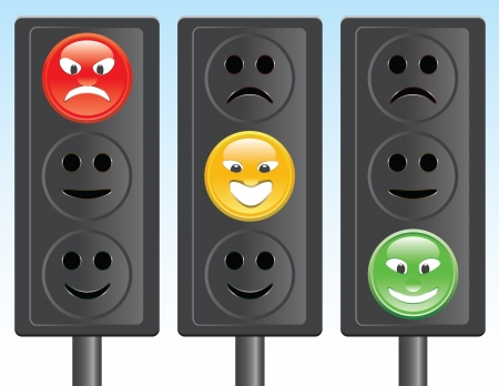 semaphore: set of traffic lights with smiley Illustration