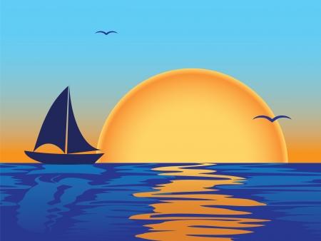 puesta de sol: puesta de sol de mar con siluetas de barco y gaviotas