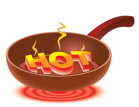 burn: 3D inscription HOT on red-hot frying pan. Abstract illustration.