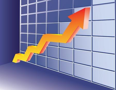 유행: Growing trend arrow. Abstract business concept illustration.