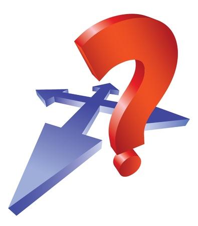3D arrows crossroad and question mark