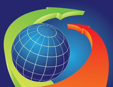 地球地球 Overlapped 矢印を曲げることによって。旅行の概念図。