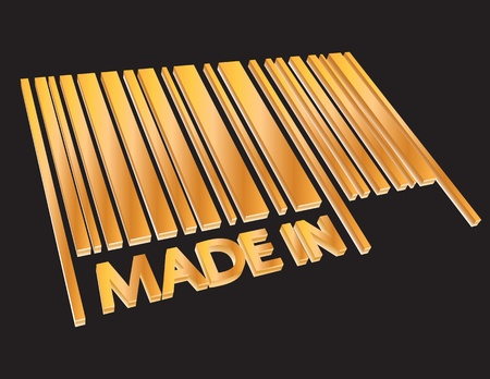 horizontal bar: Abstract golden 3D barcode with inscription MADE IN. Business concept illustration.