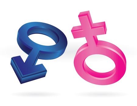 male and female symbols isolated on white