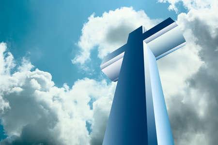 Christian cross over blue heaven Stock Photo - 9526975