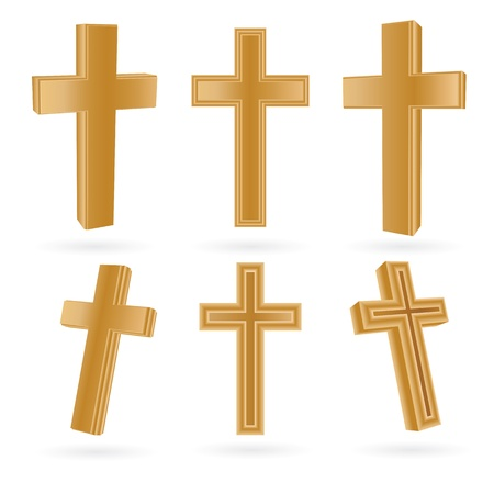 화이트 절연 목조 기독교 십자가의 집합 일러스트