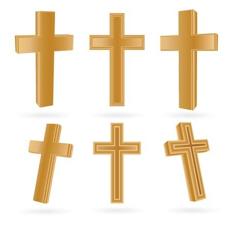 Satz von hölzernen christliche Kreuze, isoliert auf weiss