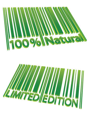 special edition: Special Edition and 100% Natural barcodes isolated on white Illustration