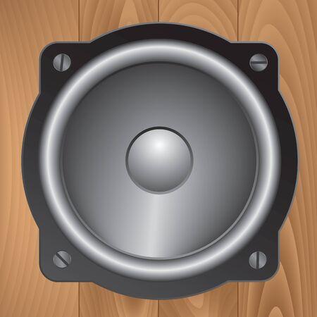 woodgrain: Loudspeaker on woodgrain texture background