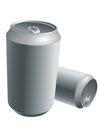 Aluminum Drink Cans isolated on white Illustration