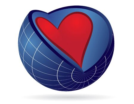 Heart and earth globe - abstract illustration Vector