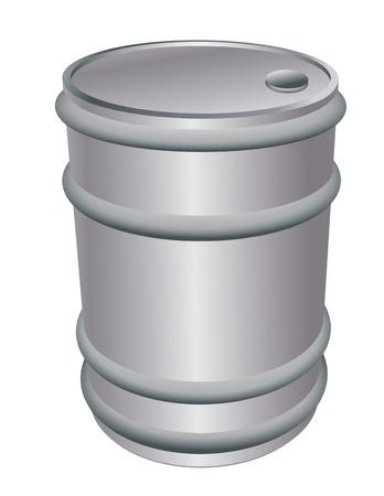 metallic barrel isolated on white
