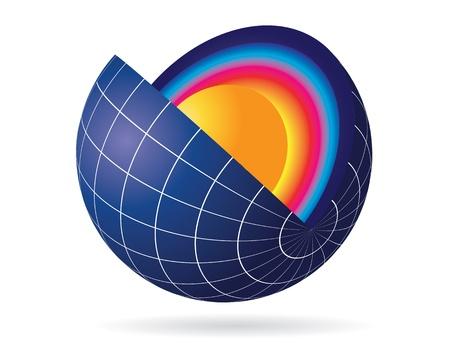 Earth globe cut view