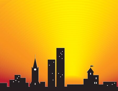 City silhouette over sunset. Abstract illustration. Vector