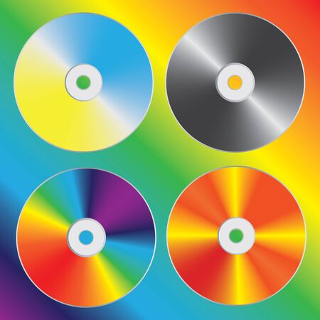 bytes: Compact discs set with optical spectrum diffraction effect. illustration.