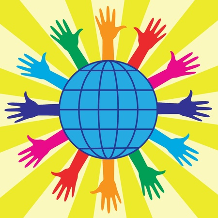 multirracial: Hands and world globe. Abstract illustration.