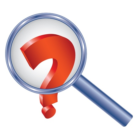 Question mark under magnifier glass. Abstract illustration. Vector