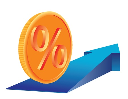 Money Coin with percent sign on growing trend arrow. Abstract business concept illustration.  Stock Vector - 9721147