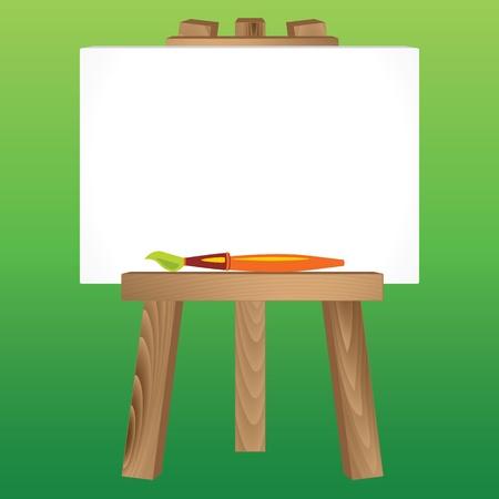 빈 흰색 캔버스와 페인트 브러시 나무 그림 삼각대