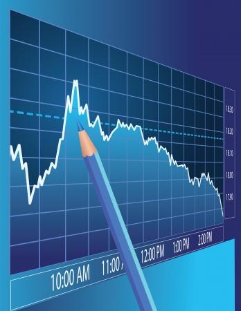 株式市場の分析。ファイナンスの概念図。  イラスト・ベクター素材