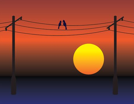 Birds date on electrical wires over red sunset sky. Love romance metaphor illustration.