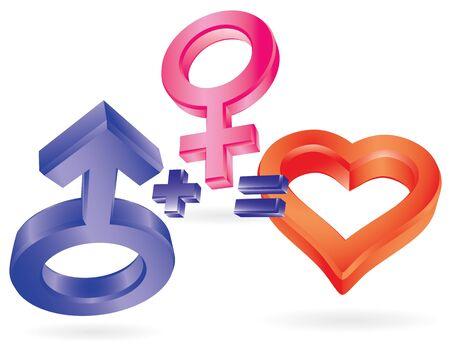 he: He plus She equally Love. Symbolic illustration. Illustration