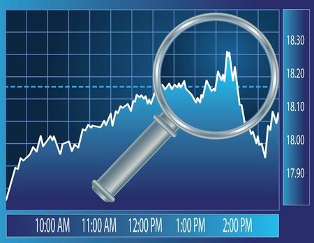 拡大鏡のガラスの下で株式市場の傾向。ファイナンスの概念図。