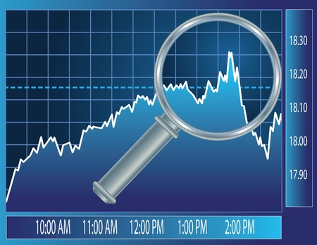 Stock market trend under magnifier glass. Finance concept illustration.