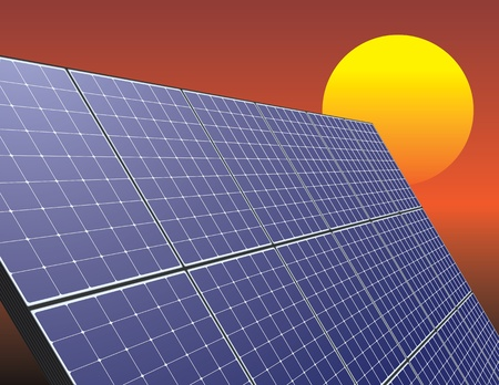 日の出の空で太陽エネルギー パネル。革新的な技術の図。