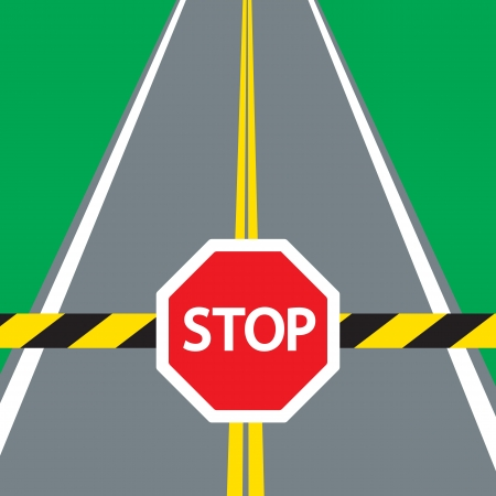 道路障壁と交通標識停止