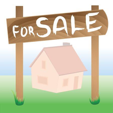 Houten plaat voor verkoop met huisachtergrond