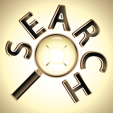target under magnifier glass and word SEARCH around Vector