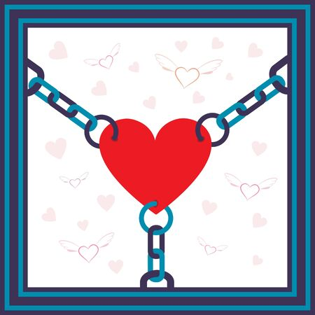 Chained heart with flying hearts on background metaphor illustration. Stock Vector - 10068720