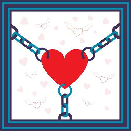 geketend: Geketend hart met vlag en harten op de achtergrond metafoor illustratie.