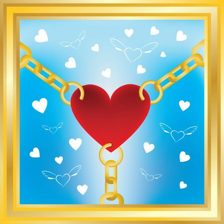 heart in golden chains with flying hearts on background
