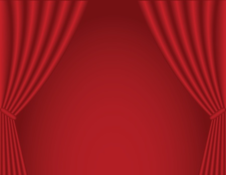 classical dark red theater curtain background  Illustration
